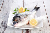 Seafood. Fresh fish on white plate. — Stock Photo