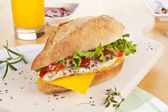 Chicken sandwich with fresh vegetables cheese. — Stock Photo