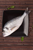 Fresh sea bream on plate, top view. — Stock Photo