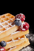 Sugared waffle with fresh berries. — Stock Photo