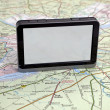 Gps navigation on green map. — Stock Photo