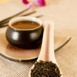 Tea leaves on a tea spoon — Stock Photo