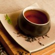 Organic black tea still life. — 图库照片