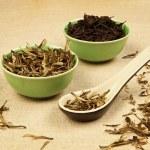tè verde e nero — Foto Stock