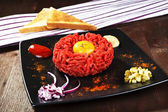 Delicious steak tartare. — Stock Photo