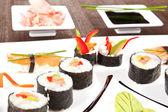豪華な寿司プレートもクローズ アップ. — ストック写真