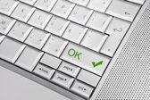 OK button ok silver keyboard. — Stock Photo
