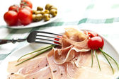 Prosciutto plaat — Stockfoto