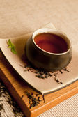 Organic black tea still life. — Stock Photo