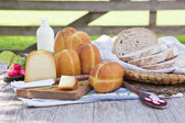 Traditional smoked cheese still life. — Stock Photo