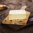 Cheese on wooden board. Agricultural background. — Stock Photo