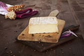 Cheese background. Agricultural vintage style concept. — Stock Photo