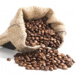 Coffee beans in brown bag. — Stock Photo
