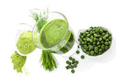 Green healthy superfood. Detox supplements. — Stock Photo