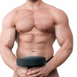 Sexy muscular torso isolated on white. — Stock Photo #30394819