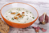Garlic soup. — Stock Photo