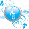 Music symbol and floral designs — Stock Vector