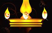 黄金の神聖なランプをぶら下げ — ストックベクタ