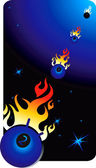 Objects in space with fire — Stock Vector