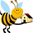 Stock Vector: Honeybee with house