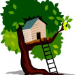 House in a tree — Stock Vector