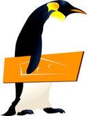 Sarı bir kuş holding penguen — Stok Vektör
