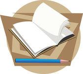 Libro y lápiz — Vector de stock