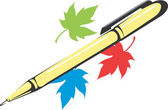 Pen and maple leaf — Stock Vector