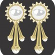Golden ear ring with pearl — Stockvectorbeeld