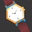 Golden diamond studded wrist watch — 图库矢量图片