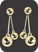 Golden ear ring — Stock Vector