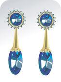 Golden ear ring with diamond — Stock Vector