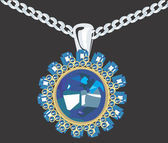 Diamant Medaillon-Halskette — Stockvektor