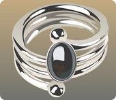 Gemstone mounted ring — Stock Vector