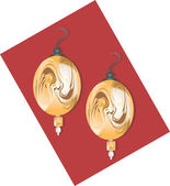 Golden ear ring with pearl — Stock Vector