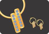 Pendiente de oro con diamantes — Vector de stock