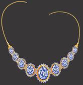 Zlatý náhrdelník s diamanty — Stock vektor