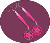 Pink earring with star — Stock Vector