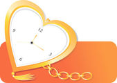 Relógio de bolso dourado em forma de coração — Vetorial Stock