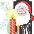 Santa clause and lighted candles — Stock Vector