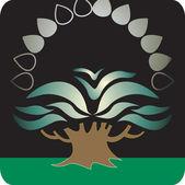 árvore plantada em terra verde — Vetorial Stock