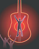 Silhouette of man on a guitar — Stock Vector