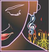Bayan giyim müzik notu küpe — Stok Vektör