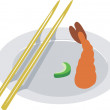 Shrimp with chopstick — Stock Vector