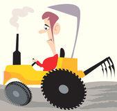 農家のトラクターに乗って — ストックベクタ