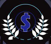 Blue dollar symbol inside a circle — Stock Vector
