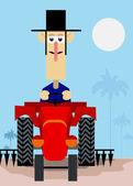 Bonde ridning en traktor — Stockvektor