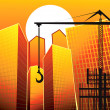 Lifting crane near buildings — Imagen vectorial
