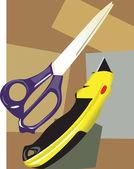 Scissor met papiersnijder — Stockvector