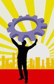 Man lifting a machine wheel — Stock Vector